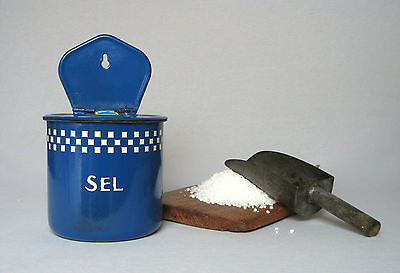 VINTAGE FRENCH ENAMELWARE ROUNDED SALT BOX in blue coloring with white checks