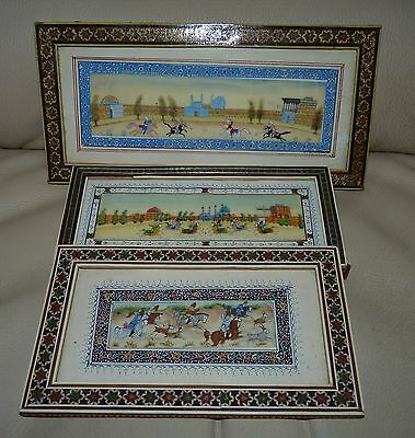 Trio Antique Persian Islamic Hand Painted Micro Mosaic Sadeli Khatam Frames