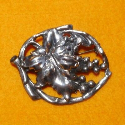 Mission Arts & Crafts Sterling Silver Grapes Leaf and Vine Pin