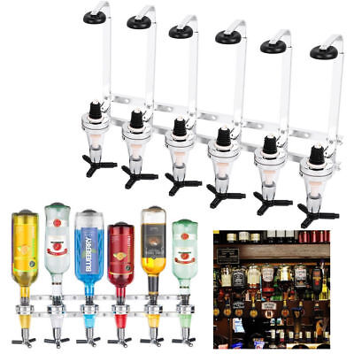 Wall Mounted 6 Bottle Stand Drinks Optics Dispenser Wine Steel Bar Butler Silver