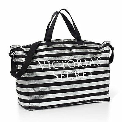 Victoria's Secret Bombshell Tote Duffle Bag Black & Silver Stripe