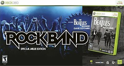 NEW Xbox 360 Beatles Rock Band Special Value Edition Guitar Drums Game &Mic RARE