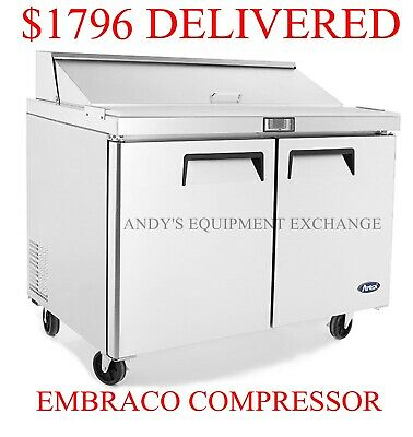 "New 48"" Sandwich Salad Prep Table 4 ft Commercial Refrigerator 12 Stainless Pans"