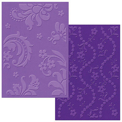 Sizzix Textured Impressions A6 Embossing Folders 2/Pkg Damask & Beaded Floral St