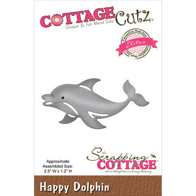 "CottageCutz Elites Die  Happy Dolphin 2.5""X1.2"" CCE271"