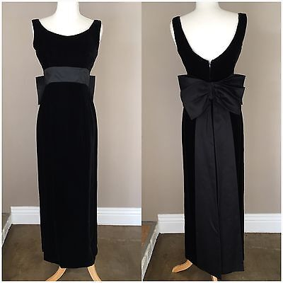 Vintage 1960s Black Velvet Maxi Dress Sleeveless Bow Evening Party Cocktail