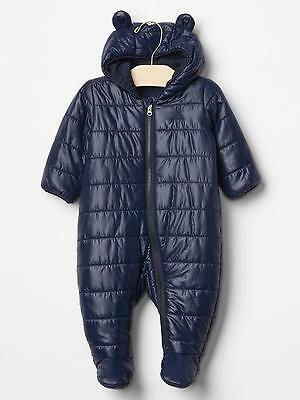 GAP Baby Boy Size Newborn Navy Blue Footed Bear Puffer Coat / Snowsuit w/Ears
