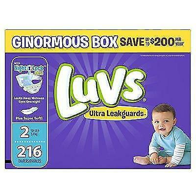 Luvs Ultra Leakguards Diapers Size 2, 216 Count New