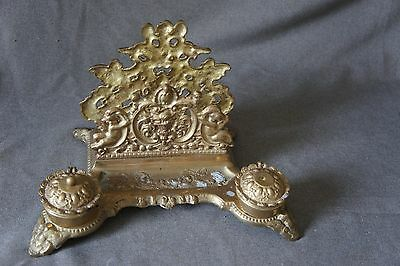 Antique Brass Letter Holder with two hinged Ink Well holders