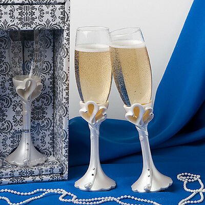 Wedding Bride and Groom Toasting Champagne Heart Flutes Glasses - Pack of 2