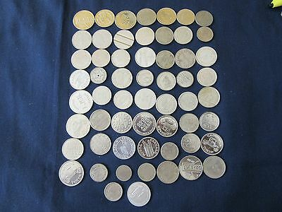 Lot Of 58 Assorted Old Unsearched Tokens Collection Vintage Arcade,..#62.5/4