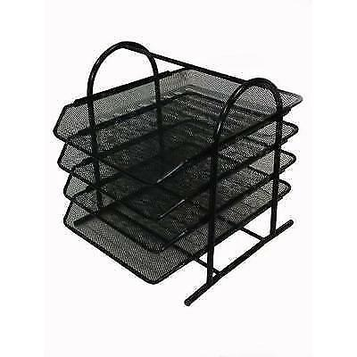 Buddy Products Mesh 4-Tier Letter Tray, 13.8 x 11.8 x 12.3 Inches, Black New