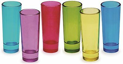 Circleware Blue Velvet Assorted Colors Tall Shot Glasses, Set of 6, 2 oz., Clear