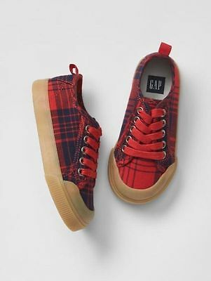 GAP Baby / Toddler Boys NWT Size 10 Red / Navy Blue Plaid Lace-Up Sneakers Shoes