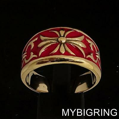 Medieval Bronze Knight Ring Fleur De Lis Cross Lily With Red Enamel Any Size