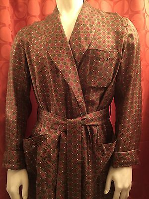 M Vintage 40s 50s FINE Brown SILK Shawl Collar ROBE Dressing Gown RED Gold GREEN
