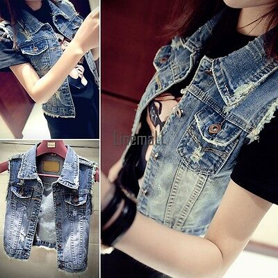 Women Washed Blue Denim Vest Sleeveless Cowboy Waistcoat Jeans Jacket Coat LM