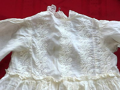 Vintage Childs Christening Dress Girls Baptism Gown White Lace Embroidery (Lot3)
