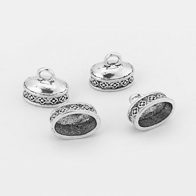 10 x Tibetan Silver Oval Carving Flower Pendant End Bead Caps For Jewelry Making