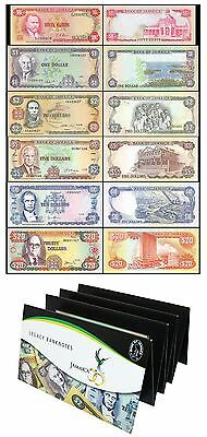 Jamaica 50 Cents to 20 Dollars 6 PCS Full Set, 1960-1999, P-53-72, UNC,In Folder
