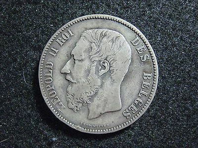"1873 Belgium 5 Francs Silver Grey Patina Higher Grade Position ""A"" Nice KM 24"