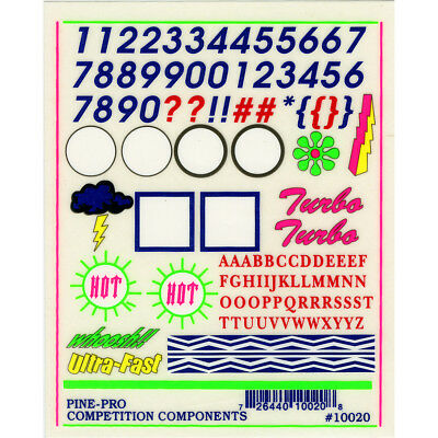 """Pine Car Derby Decal 4""""X5"""" Numbers & Letters PP10020"""