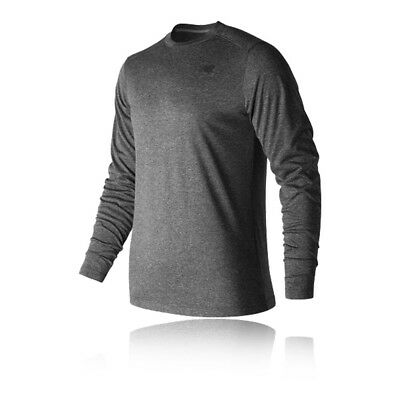 New Balance Heather Tech Mens Grey Long Sleeve Crew Neck Running T Shirt Tee Top
