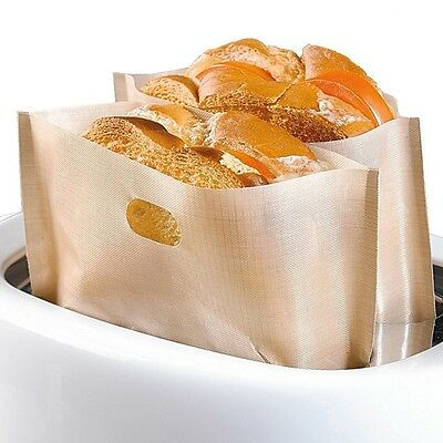 6x Reusable Toast Bag Toaster Sandwich Bags Baking Pouch Toasty Toastie Pockets