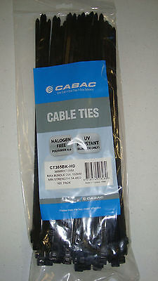 100 Cabac Cable Ties 368mm X 7.6mm - Heavy Duty 100 CT365BK-HD Black Cable Ties