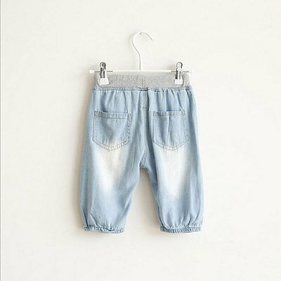 Children Girls Boys Cropped Pants Kids Casual Thin Jeans Summer Denim Trousers