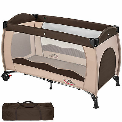 Baby Travel Cot Bed Portable Child Playpen Children Rest Play Foldable Coffee
