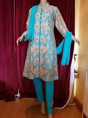 Pakistani Shalwar Kameez Asian Wedding Jacket EID  Suit  Green Turquoise Large