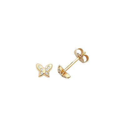 9ct Gold Baby/Childs Butterfly Stud Earrings