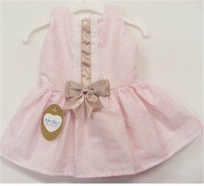 Kinder Boutique - Baby Girls Pink Paisley Spanish Style Drop Waists Dress