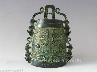 China Bronze Four Tigers Ear Bell Collection Musical tool Model Home Decoration