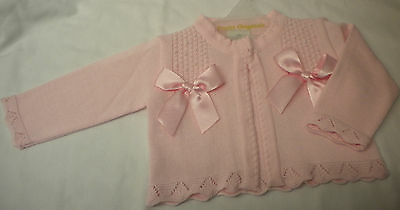 PRETTY ORIGINALS CARDIGAN PINK WITH BOWS  JP02761 3M 6M 12M 18M 2Y 3Y 4Y 5y