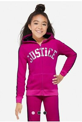 Justice stripe plush hoodie Girls Clothes size 6 7 8 10 12 NWT Free shipping!