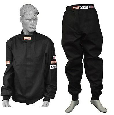 Race Suit Fire Suit 1 Layer Jacket & Pants Black 2 Piece Adult 3X Dirt Oval Xxxl