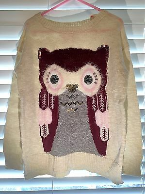 Justice owl pullover light sweater girls clothes size 6 7 8 10 12 14 16 18 20