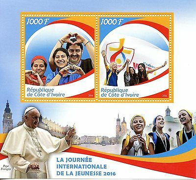 Ivory Coast 2016 MNH Pope Francis Intl Youth Day 2v M/S Popes Stamps