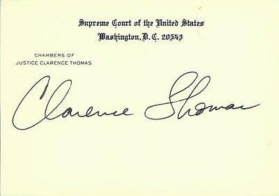 Clarence Thomas - Supreme Court Card Signed