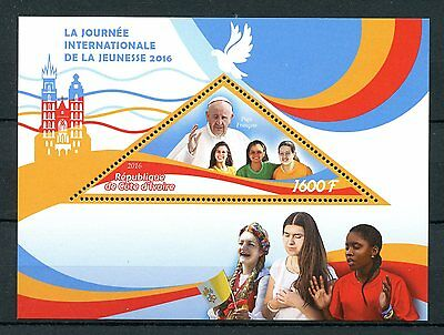 Ivory Coast 2016 MNH Pope Francis Intl Youth Day 1v S/S Popes Stamps