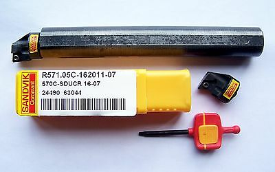 "Sandvik A570 3/4"" Boring Bar With 2 Interchangeable Heads Cnc Free Shipping"