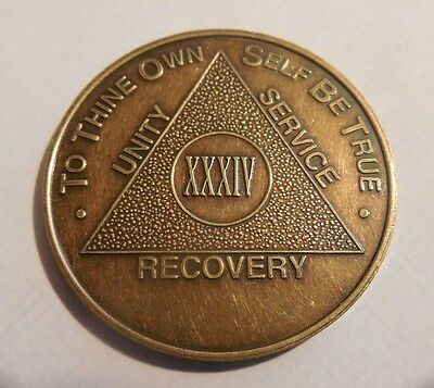 aa new alcoholic anonymous bronze 34 year recovery sobriety coin token medallion