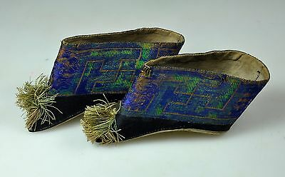 12 Cm Pair Antique Chinese China Qing Embroidered Lotus Shoes Blue 19Th C