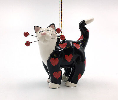 56556 MIDNIGHT LOVE Hearts Cat Whimsiclay Amy Lacombe Ornament Valentine's Day