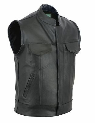 Real Leather Mens Son Of Anarchy Gun Pocket Motorcycle Biker Cut Off Waistcoat.