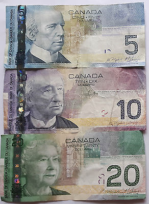CANADIAN (2001 – 2006) CANADA $5 $10 $20 Dollars Journey Series Banknote Set.