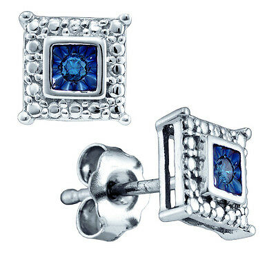 Sterling Silver Round Blue Colored Diamond Stud Fashion Earrings 1/20 Ctw