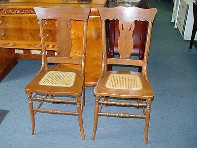 Antique Oak Cane Seat 2 Side Chairs